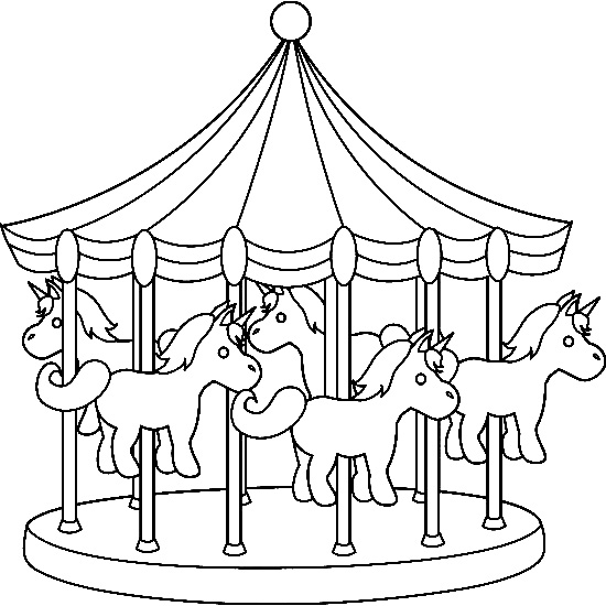 The gallery for merry go round coloring page for Amusement park coloring pages