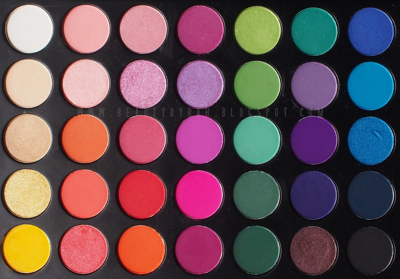 Morphe brushes 35b colour glam palette swatches
