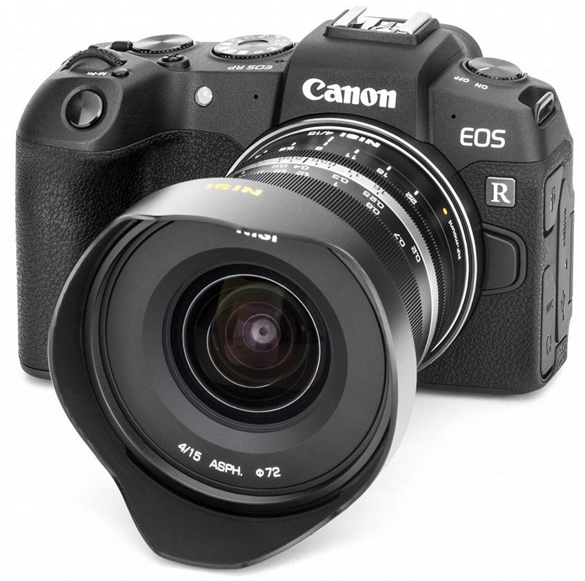 Объектив NiSi 15mm f/4 с камерой Canon