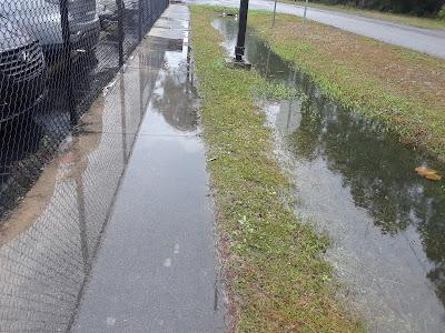 rain water on the sidewalk