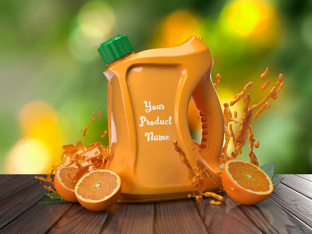 3D product orange jug juice with oranges on wooden table