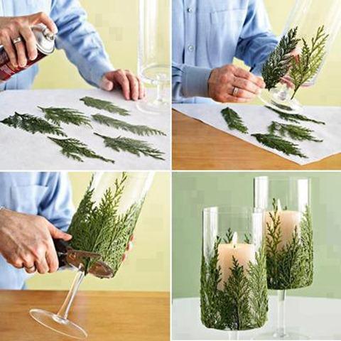 centro de mesa elaborado con ramas de pino
