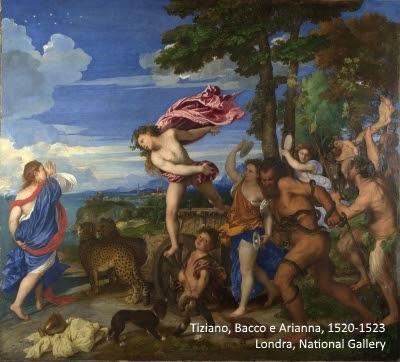 Bacco e Arianna, Tiziano. Rosso vermiglione