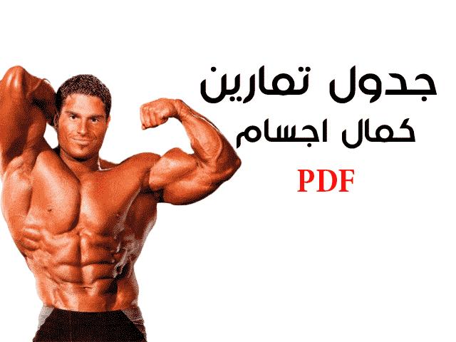 جدول تمارين كمال الاجسام للمبتدئين pdf