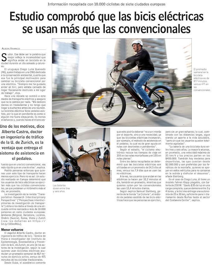 Estudio comprobó que las bicics eléctricas se usan más que las convencionales
