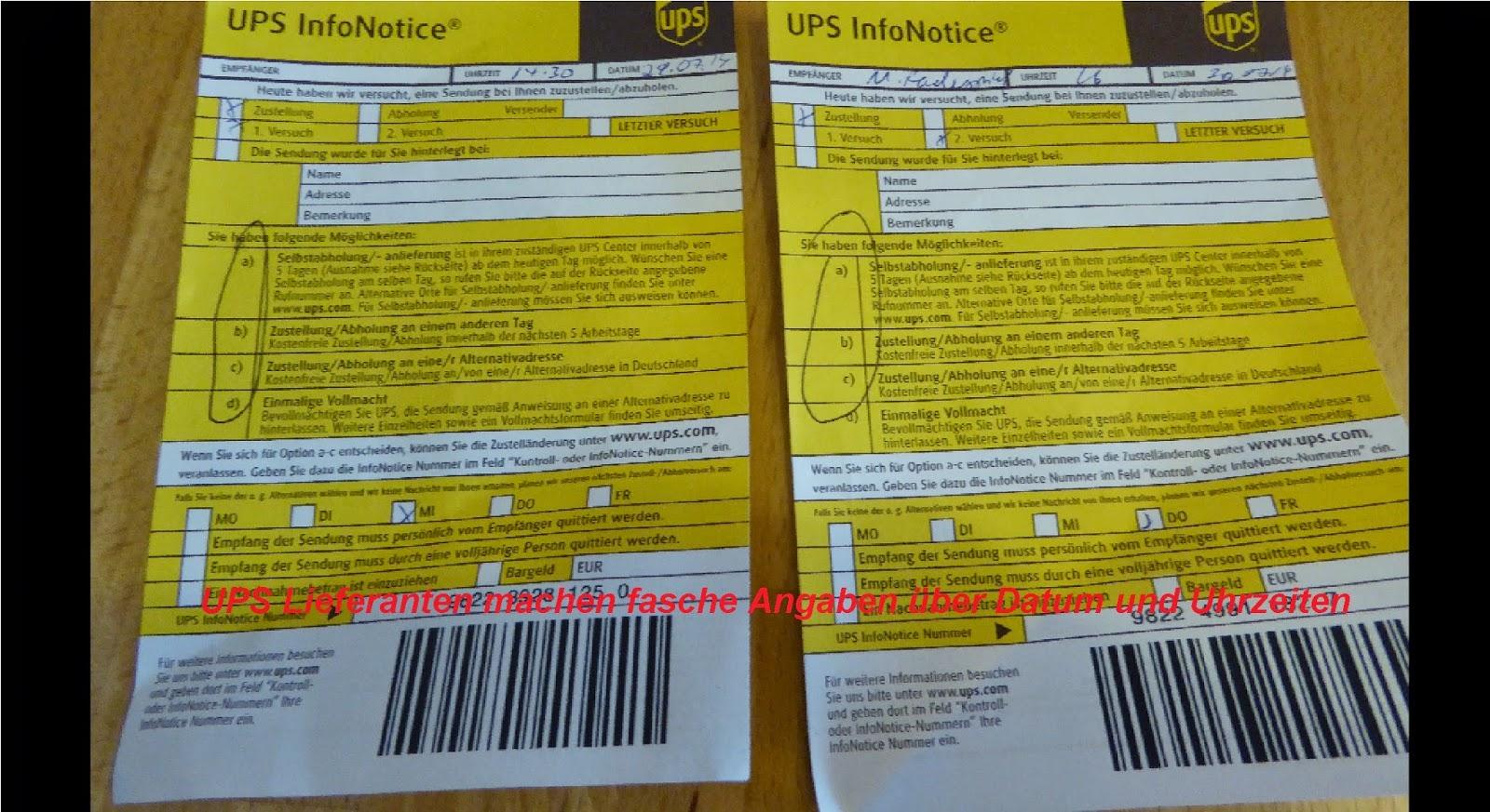 UPS Versand UPS Versand ist mangelhaft