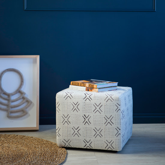 Safari Fusion blog >< [In store] Mud Cloth Ottoman (cross) | Modern Tribal 2018 collection | Just in >> a curated collection of African objects, fine art photography, baskets and felt art by Safari Fusion| Image © Safari Fusion