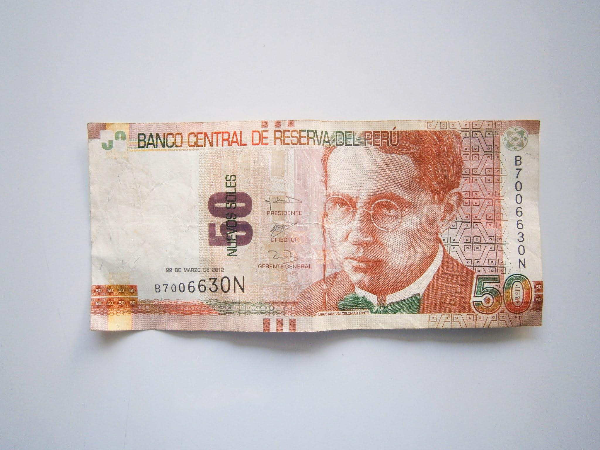 Billete de 50 soles que pertenece al país de Perú Billete de 50 soles