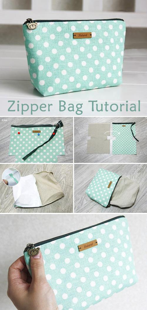 Linen Zipper Bag Tutorial