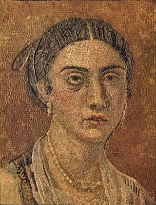 mosaico pompeiano con ritratto di donna