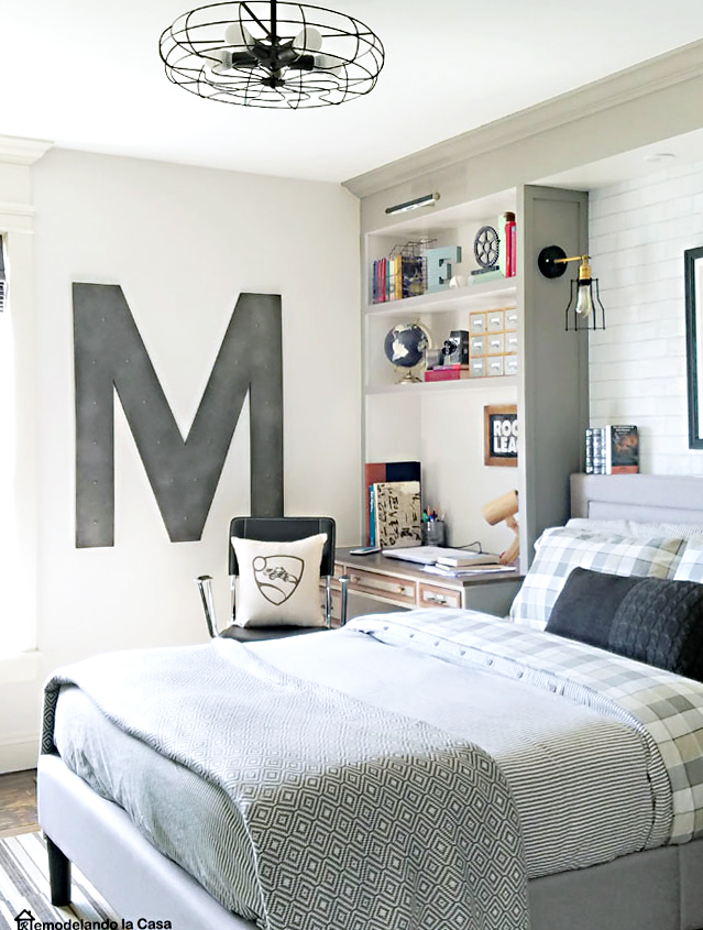 industrial teen boy bedroom with letter M wall art