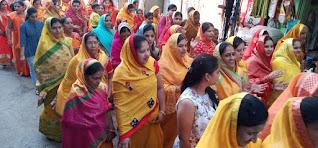 राम जन्मभूमि निधि संग्रह के अंतर्गत महिलाओं ने निकाली शोभायात्रा