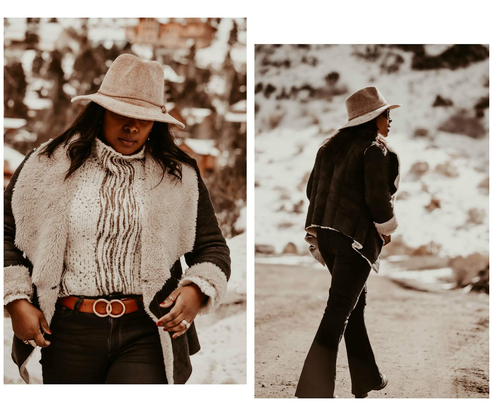 cowgirl-paige-denim-bootleg-jeans-pants-anthropologie-blush-plush-chenille-hat-guess-double-ring-belt-vintage-cateye-sunglasses-at-snowy-mount-charleston-lasvegas-nv