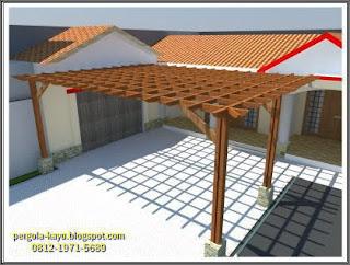 Model desain pergola untuk garasi