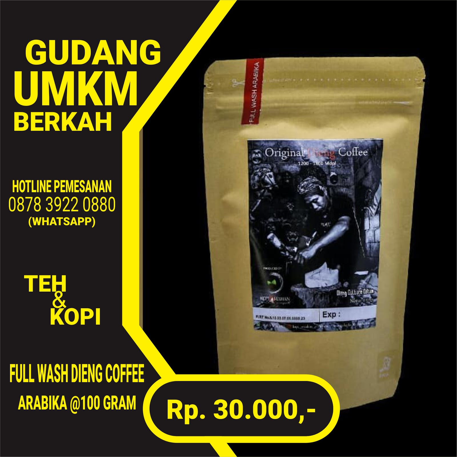 Full Wash Dieng Coffe Arabika 100 Gram
