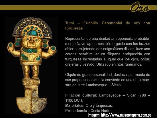 Peça da cultura Lambayeque no Museu Ouro do Peru - Lima