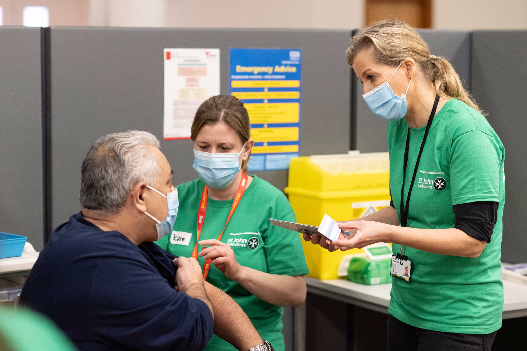 The Grand President of St John Ambulance and a care volunteer for the charity, The Countess of Wessex started volunteering at its vaccination centre to assist the Covid-19 vaccine rollout across the country.