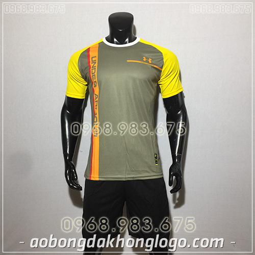 Áo bóng đá ko logo Under màu nâu
