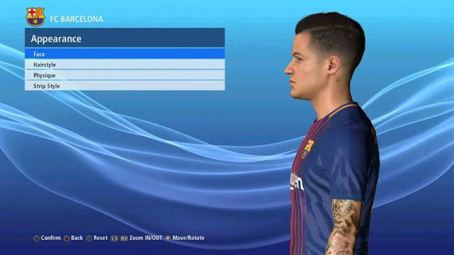 Philippe Coutinho Face + Tattoo PES 2017