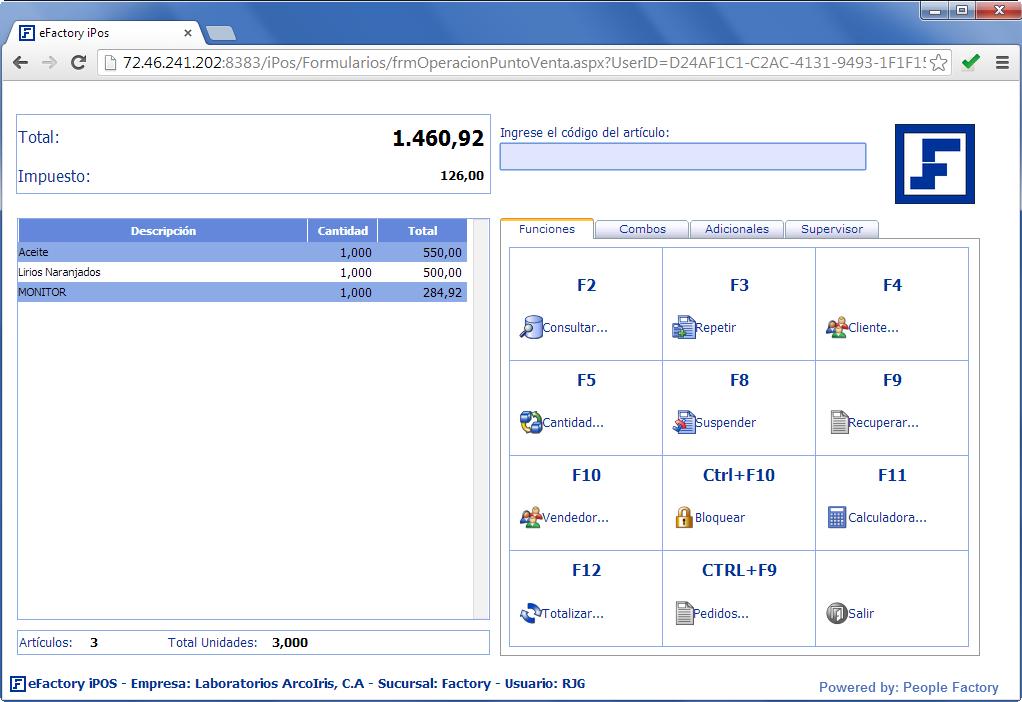 eFactory Punto de Ventas: eFactory iPOS - Productos Web de eFactory: ERP/CRM, Nómina, Contabilidad, Punto de Venta, Productos para Móviles y Tabletas