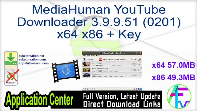 MediaHuman YouTube Downloader 3.9.9.51 (0201) x64 x86 + Key