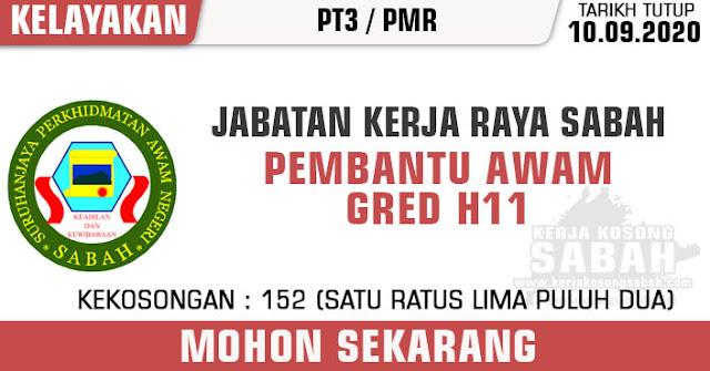 Jawatan Kosong Kerajaan Negeri Sabah 2020 | Pembantu Awam Gred H11 - Jabatan Kerja Raya Sabah