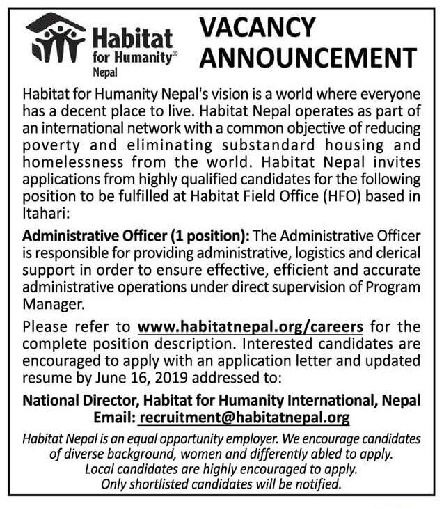 Vacancy Announcement from Habitat for Humanity Nepal