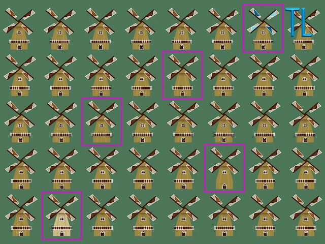 Muchos molinos de viento sobre un fondo de color verde