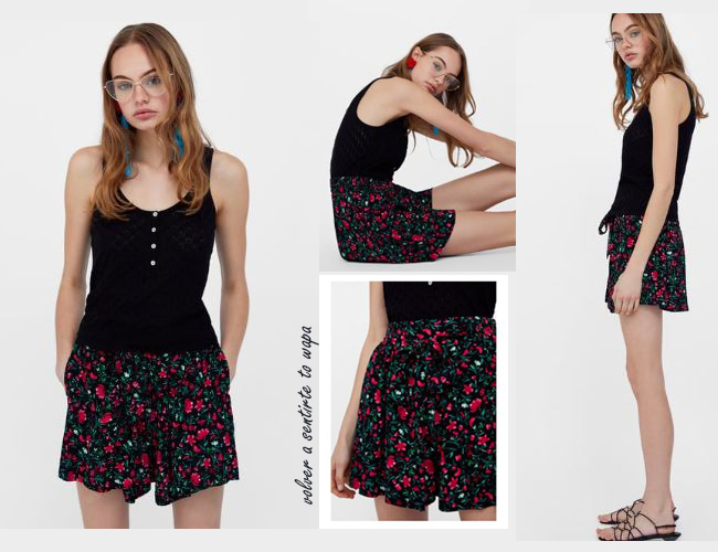 Short negro de flores de Zara