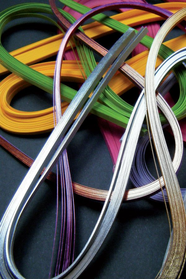 colorful skeins of narrow paper strips