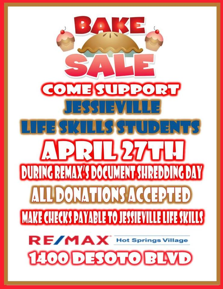 Feast on delicious baked goods while getting your documents shredded to support Jessieville Life Skills students
