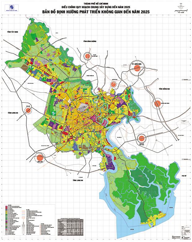 Bản đồ định hướng phát triển không gian TP.HCM đến năm 2025