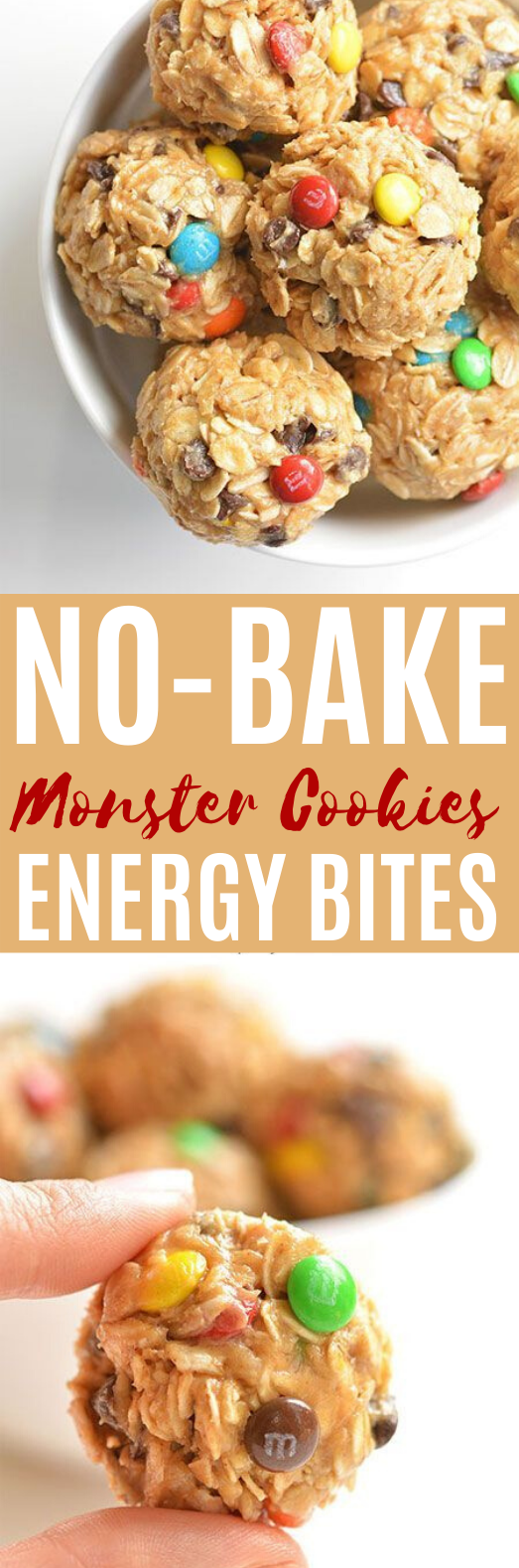 No-Bake Monster Cookie Energy Bites #healthy #snacks #vegetarian #keto #kidfriendly