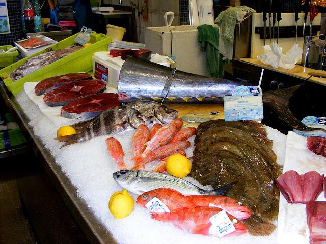 Atlantic bluefin tuna (Fr. thon rouge) and brill (Fr. barbue) in the fish market, Saint Jean de Luz. Pyrenees-Atlantiques. France. Photographed by Susan Walter. Tour the Loire Valley with a classic car and a private guide.