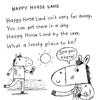 Illustration of happy horses by the sea, eating ice creams