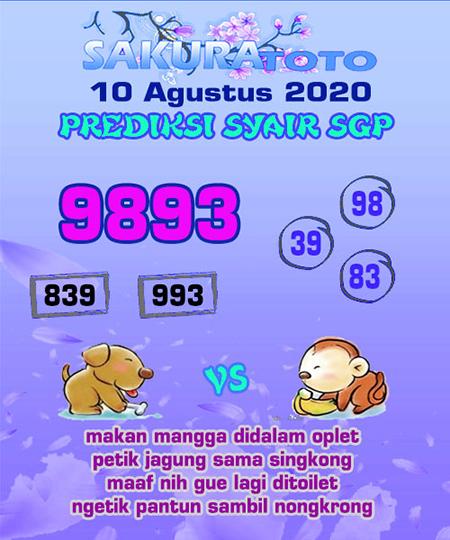 Prediksi Sakuratoto SGP Senin 10 Agustus 2020
