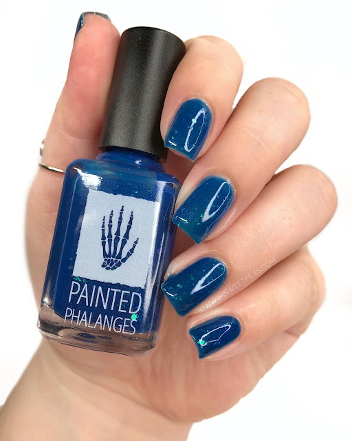 Painted Phalanges Sparkly Blue Year 25 Sweetpeas