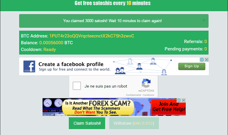 BITCOIN FOR ALL: GET 3000 SATOSHI EVERY 10 MN!