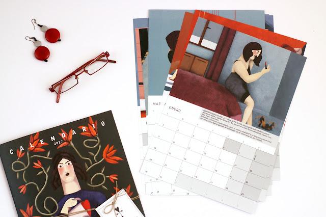 Portada y planificadores mensuales del calendario ilustrado de 2017 - 2017 ilustraste calendar cover and mostly planners prints