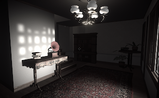 A gameplay screenshot showing a gramophone on a table in front of a window.