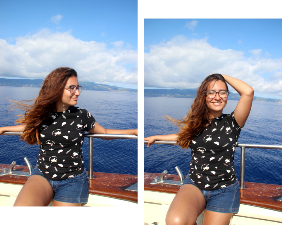 two pics of me while watching some dolphins