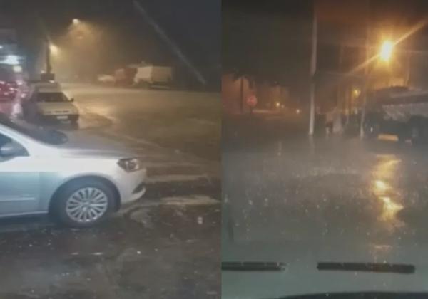 Moradores registram chuva de granizo em Ourinhos