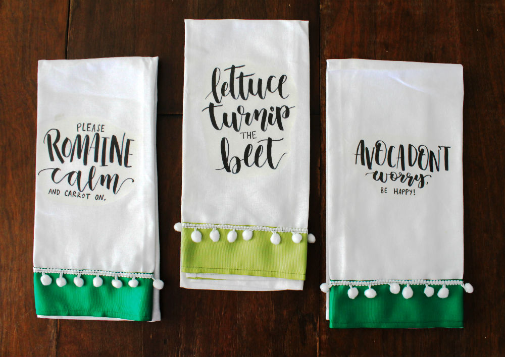 Grab a free printable, some May Arts ribbon and learn how to make these veggie pun kitchen towels with this DIY by @punkprojects