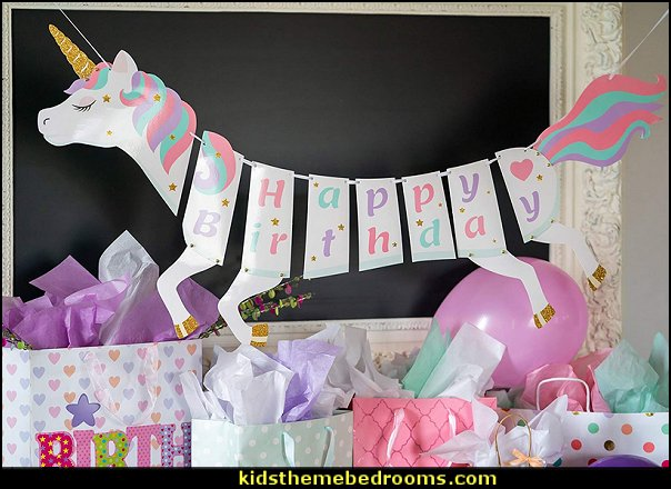 Unicorn Happy Birthday Banner - Unicorn Party Supplies Decorations
