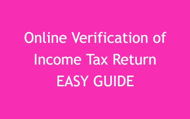 How To Verify Your Income Tax Return Online