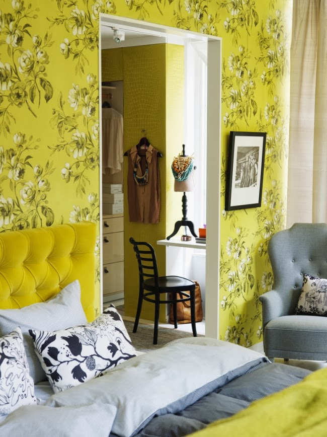 dormitorio decorado gris y amarillo