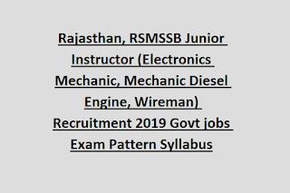 Rajasthan, RSMSSB Junior Instructor (Electronics Mechanic, Mechanic Diesel Engine, Wireman) Recruitment 2019 Govt jobs Exam Pattern Syllabus