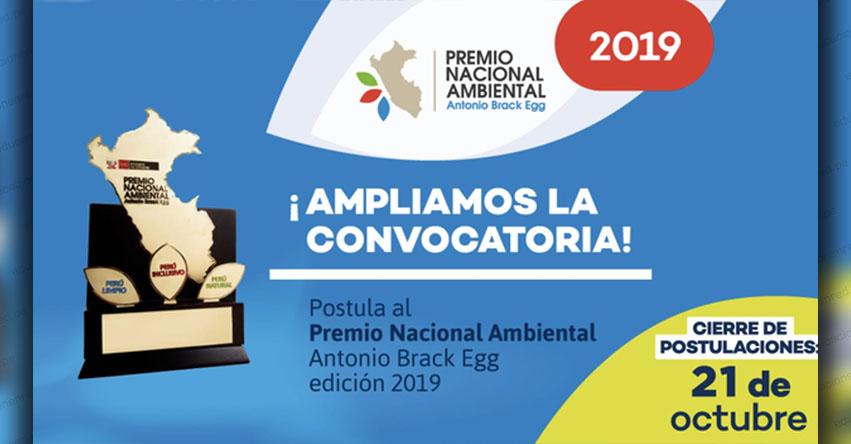 Amplían plazo de postulación para el Premio Nacional Ambiental 2019, organizado por el Ministerio del Ambiente