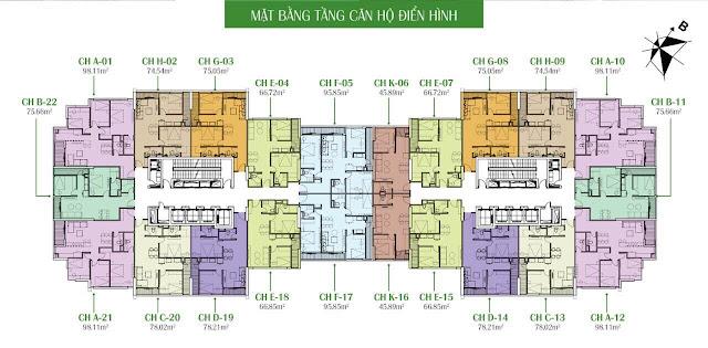 Thiết kế mặt bằng tầng căn hộ điển hình tầng 2 đến 27 Eco Dream