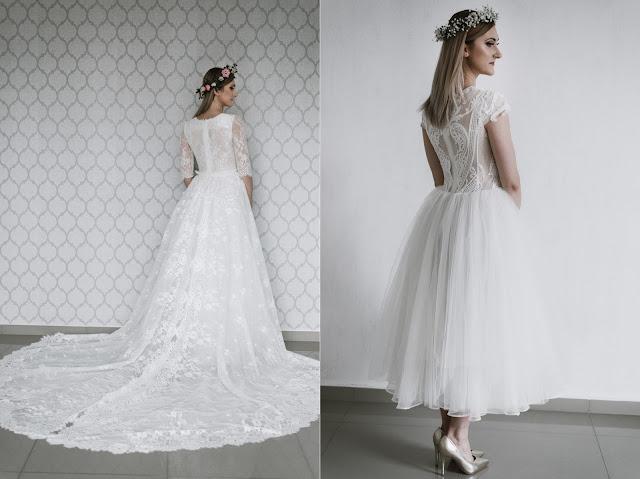 Suknie ślubne - po prawej koronkowa z długim trenem, a po lewej suknia tiulowa do połowy łydki.